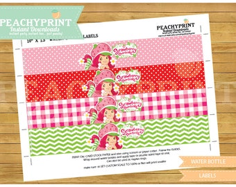 Strawberry Shortcake Water Bottle Labels Instant Download