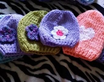 Custom Handmade Baby Hats Sizes ~ Newborn to 18 Months