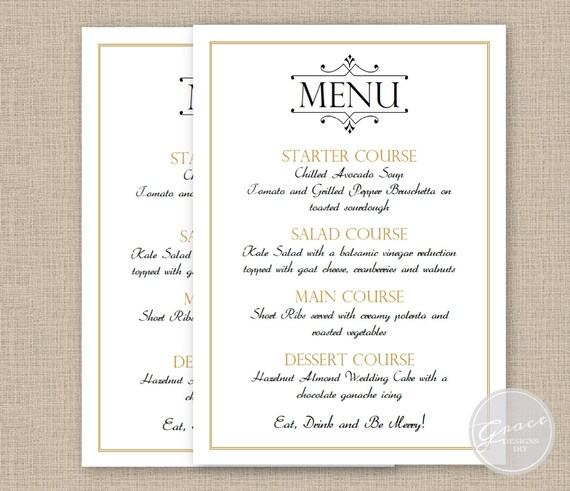 printable menu card 5x7 inches instant digital download. Black Bedroom Furniture Sets. Home Design Ideas