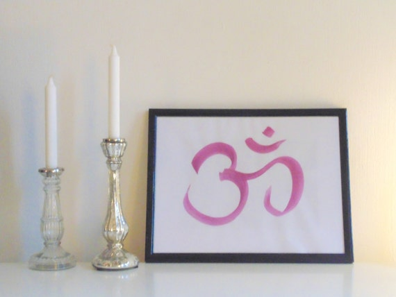 Yoga Wall Light : Om pink on white Yoga Wall Art Print handmade written