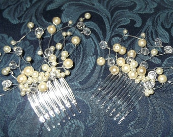Set of 2 Pearl and Crystal Haircombs, Handcrafted available in a range of colours