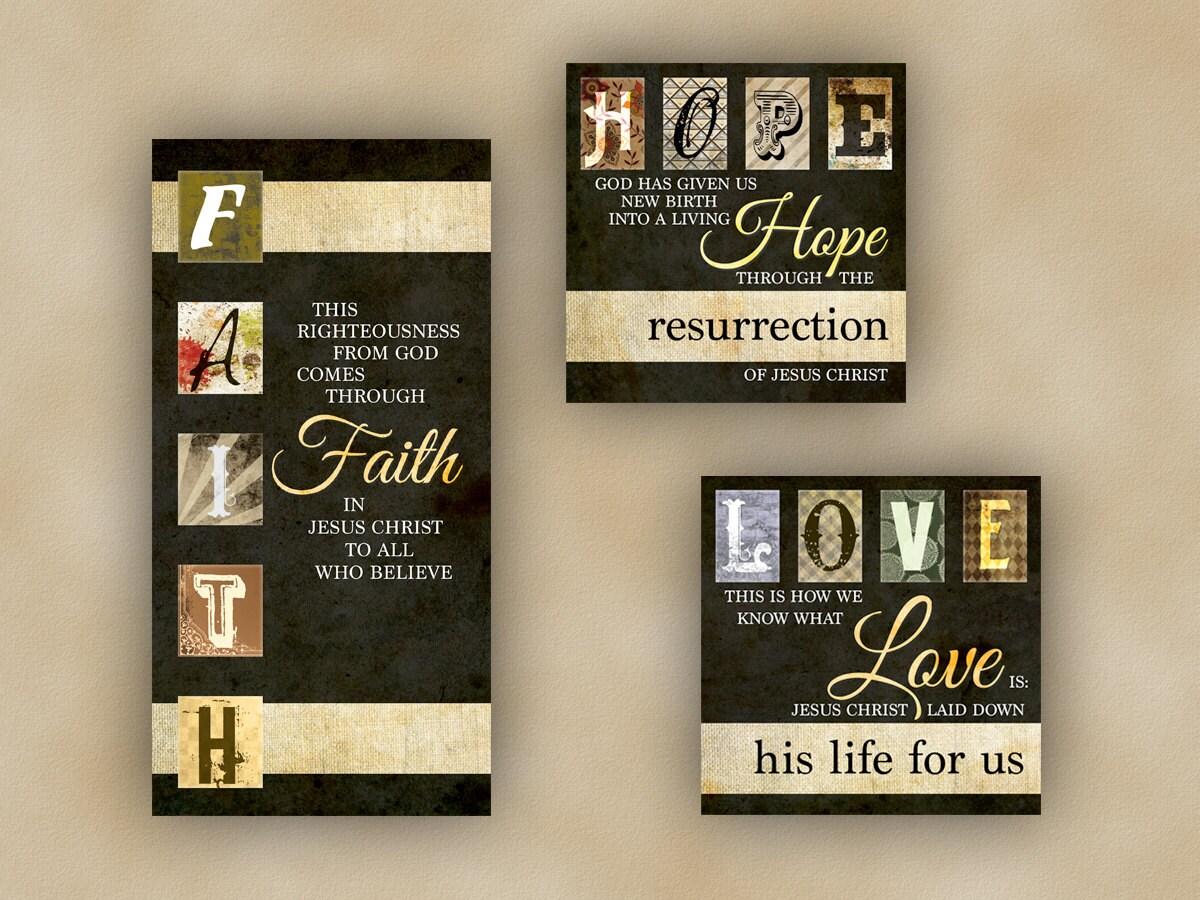 3 christian scripture canvas package faith hope love for Faith decor