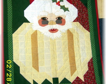 Original, Hand Made, Quilted Santa Wall Hanging