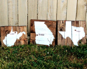 Rustic  Home State Custom Distressed hand painted Reclaimed Pallet Wood sign Texas Florida California TX CA al ga
