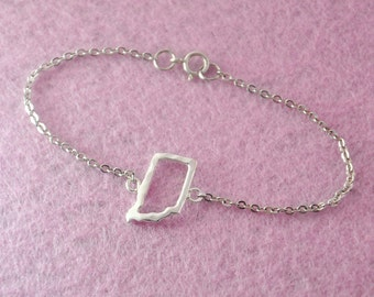 Silver Indiana Bracelet, Custom Map Bracelet, Personalized Map Bracelet, Indiana pendant, custom Indiana jewelry, Valentine gift for her