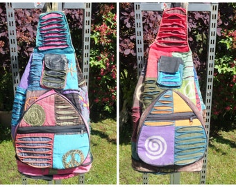 Slash Patchwork Backpack, Cotton Rainbow Peace Rucksack, Hippy Boho Festival