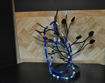 Necklace , earring set ,double strung,royal blue czech percosa fire polished,faceted round beads