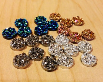 Wholesale Chunky Sampler 12mm faux druzy Cabochons 24pcs