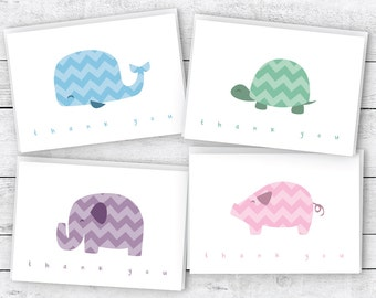 Chevron Animals Baby Thank You Cards Collection - 24 Cards & Envelopes