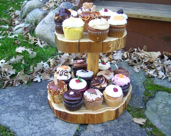 Rustic Cupcake Stand. 2 Tier Cupcake Stand. Tiered Cupcake Stand. Wood Cupcake Stand.