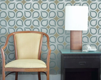 RETRO DROPS All over Wallpaper Stencil / Reusable Stencils • DIY •Home Decor • Interiors • Feature Wall • Wallpaper alternative