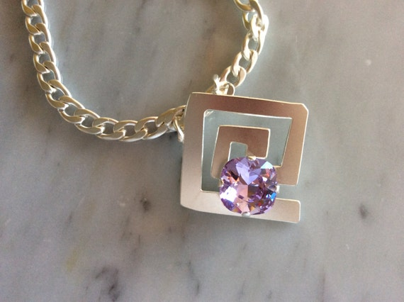 Mazey Violet Crystal Necklace, Matte Silver