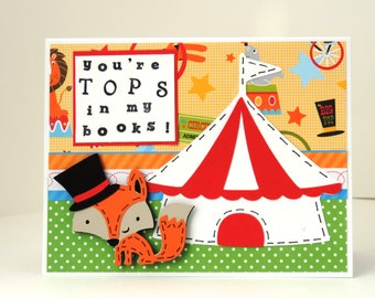 You're TOPS in my books Card, for someone who is special to you! - Fox Card - Blank Inside Card - Thank You Card - Father's Day Card