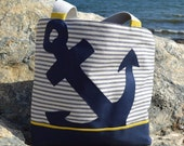 Anchor Canvas Bag, Nautical Canvas Handbag with Blue Anchor and Yellow Accents, Lining, Canvas Tote