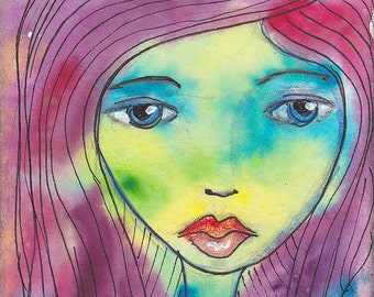 "Zen Chick ""Lois"" -- an original watercolor ACEO"