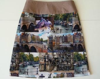 Amsterdam skirt, Holland, Dutch, canal houses, bike, pigeons, dots, prints, A-line skirt, size EU 40 (USA 10 -UK 12), cotton, lining, zipper