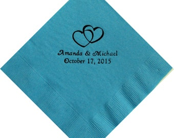 50 Personalized Beverage Napkins - Double Hearts