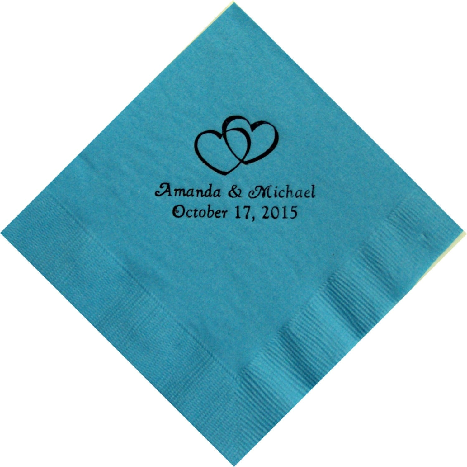 50 Personalized Beverage Napkins Double Hearts