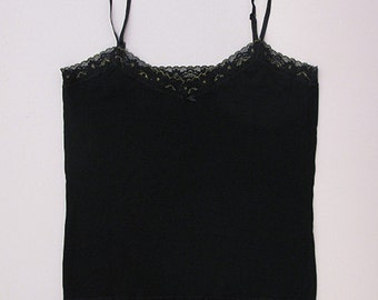 Black cotton camisole with black and gold lace