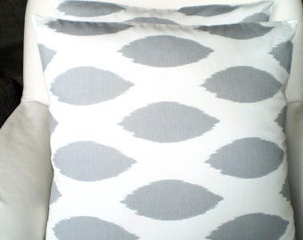 Gray Ikat Pillows, Decorative Pillows, Cushion Covers, Grey White Chipper, Couch Pillows, Euro Sham, Throw Cushion, One or More All Sizes