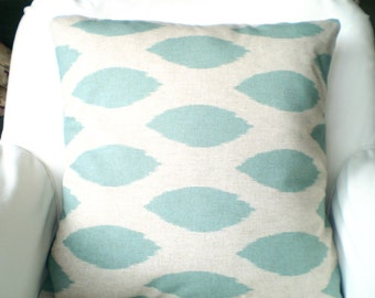 Blue Ikat Pillow Covers, Decorative Throw Pillow, Cushion Cover Couch Bed Pillow Eaton Blue Chipper on Darker Natural, One or More All Sizes