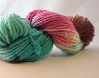 Hand Dyed Bulky Weight Peruvian Highland Wool Yarn  - Blue and Purple multi