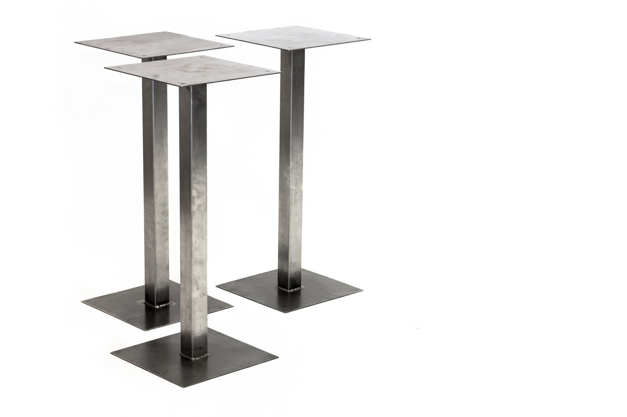 Square tube pedestal base metal table legs by for Square iron table legs