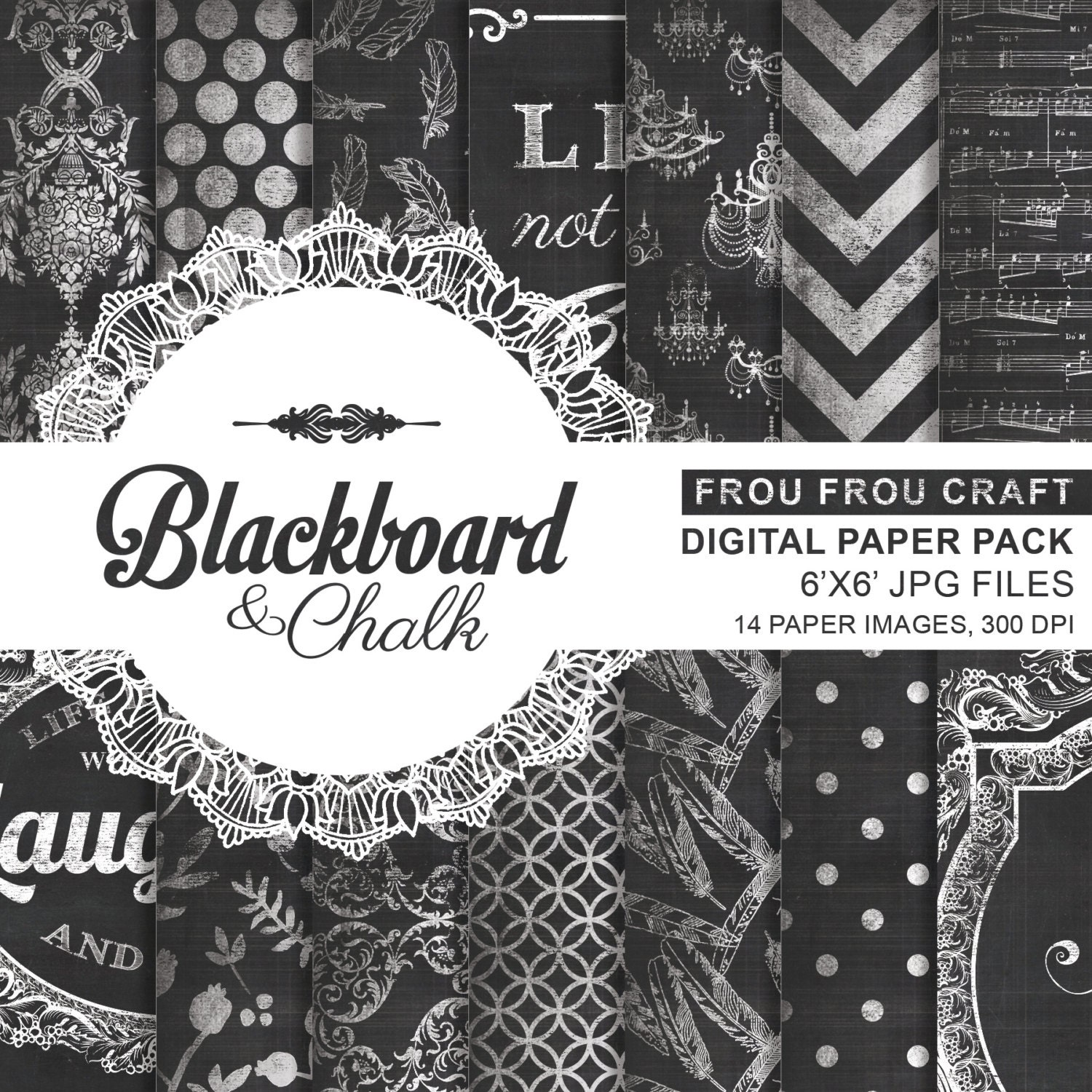 Colorful Chalkboard Paper Textures Digital Paper Graphic ...