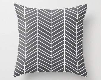 Gray chevron pillow, geometric pillow, decorative throw pillow, Modern design accent cushion covers, Home living decor gift