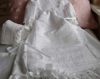 "A Swiss Cotton Lace Inserted Christening Gown  - ""Victoria"""