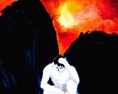 Mythology Lucifer Fallen Angel Underworld Fine Art Painting Print 5x7