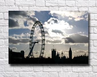 Wall Canvas Photograph - Poster Print - Modern Wall Art - Architecture - City Skyline London Eye Big Ben Parliament - Photographic Print