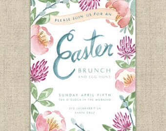 Easter Invitation - Printable Digital File - Customize and Print Yourself