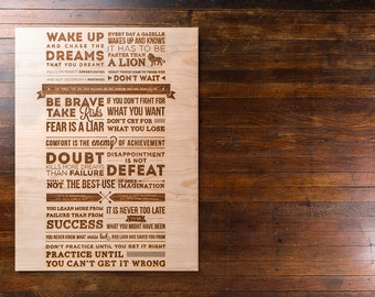 Inspirational Cherry Ply Wood Etching Featuring Quotes and Phrases