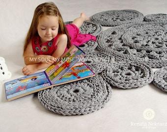 Grey, cotton cord, round rug, crochet rug, crochet carpet, knitted carpet, knitted rug, home & decor, furniture, floor decoration, floor,