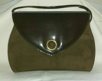 Vintage 80s Patent Leather & Suede Brown Handbag