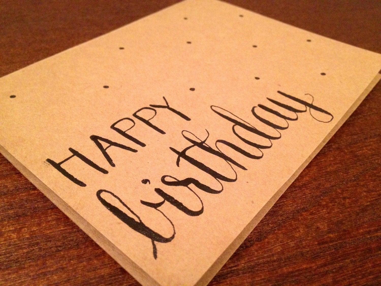 Modern calligraphy birthday card happy x