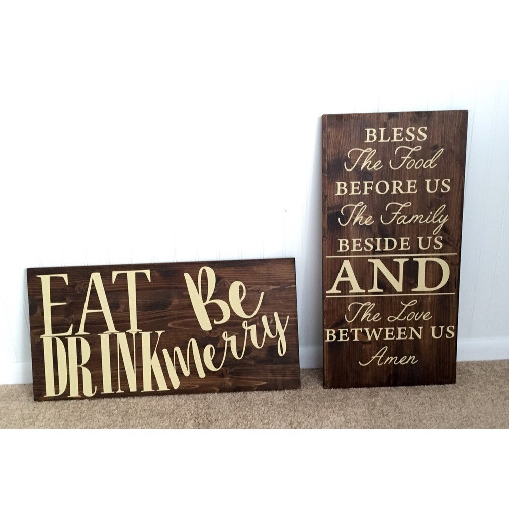 Dining room wall decor set of two rustic kitchen room decor for Kitchen dining room wall art