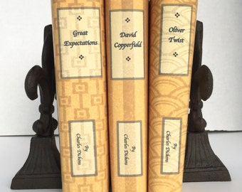 Vintage books - Charles Dickens - custom book jackets - gold books - decorative books - classics library - personalized gift - twine books