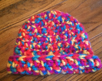 Crocheted Hat, Adult, Multi-Colored, Thick, Cozy, Whimsical, Funky, Fun, Boho