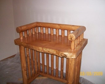 Log baby changing table