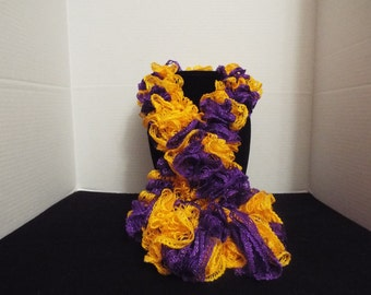 Team Spirit Crochet Ruffled Scarf, Handmade Ruffle Team Spirit Gold / Yellow and Purple Lacy College Football