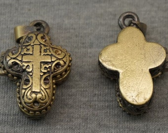 1pc Antique Bronze Plated Copper Cross Locket  Photo Phase Box Charm Pendant 22x18x9mm --Z04864