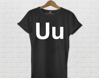 Uu Alphabet Helvetica Fashion T-shirt Black
