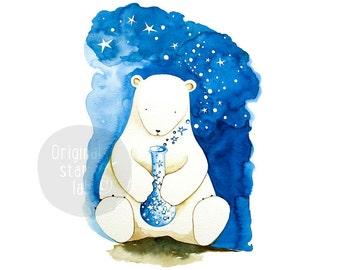 Cute animal art, cute animal drawing, children's art, polar bear nursery, polar bear art, kids wall art, kids room decor, polar bear baby.