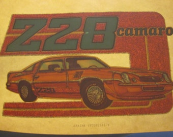 Z28 Camaro iron on decal, true vintage 1970s in excellent condition.