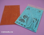 Merpeople Mermaid Paper Doll / Invoke Arts Collage Rubber Stamps / Unmounted Stamp Set