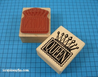 Queen Post Stamp / Postoid / Invoke Arts Collage Rubber Stamps