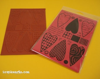 Textured Hearts / Invoke Arts Collage Rubber Stamps / Unmounted Stamp Set