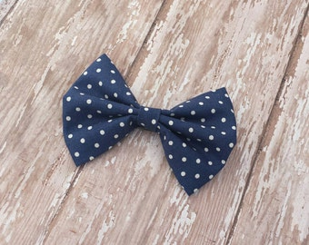 Navy Blue & White Polka Dots Fabric Hair Bow Clip or Headband / Navy Blue Polka Dot Hair Bow / Polka Dot Bow Clip / Navy Blue Bow Headband